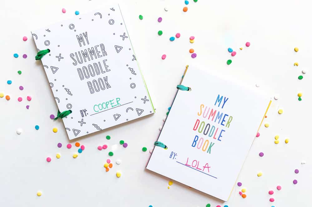 homemade printable doodle books displayed on a white background with confetti