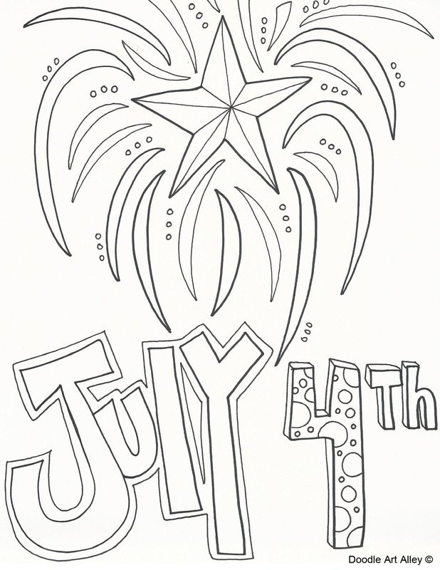 July fourth summer printable coloring page with text and fireworks