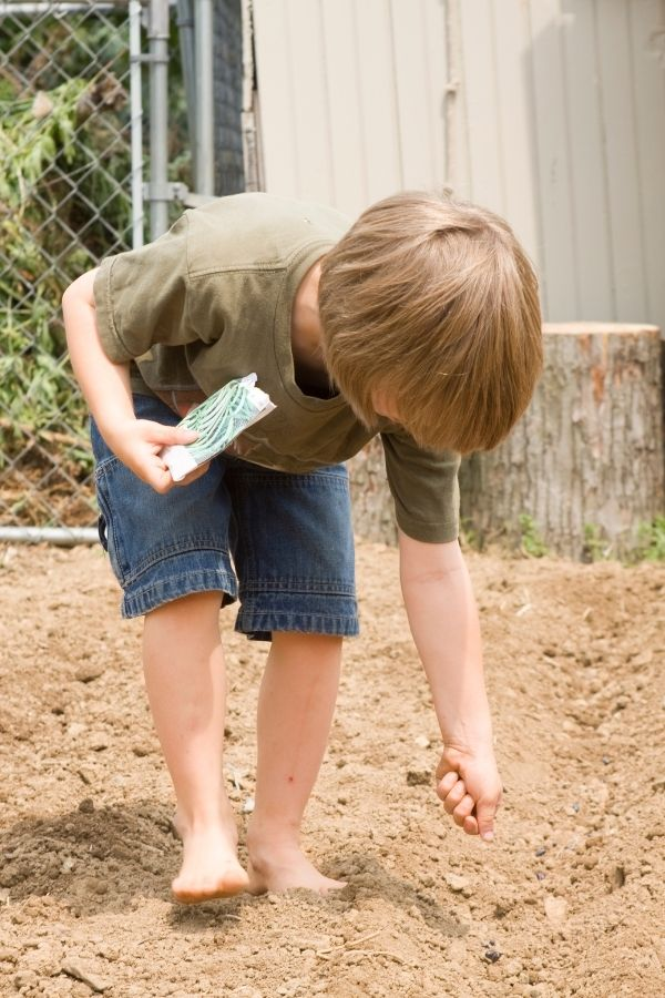 child practicing science for kids at home by planting seeds