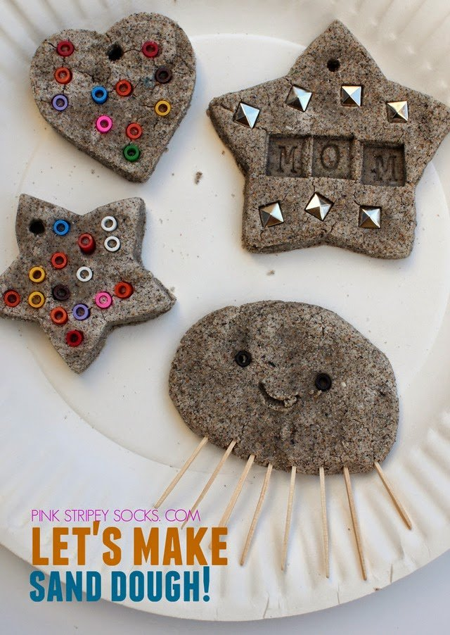 ornaments and animals made out of homemade sand dough