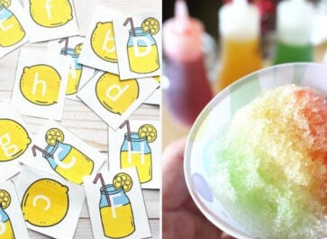 images of two preschool summer activities including a printable lemonade game and homemade snow cones