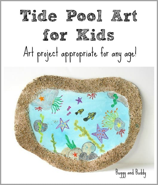 tide pool beach craft features art by kids in a sandy frame!