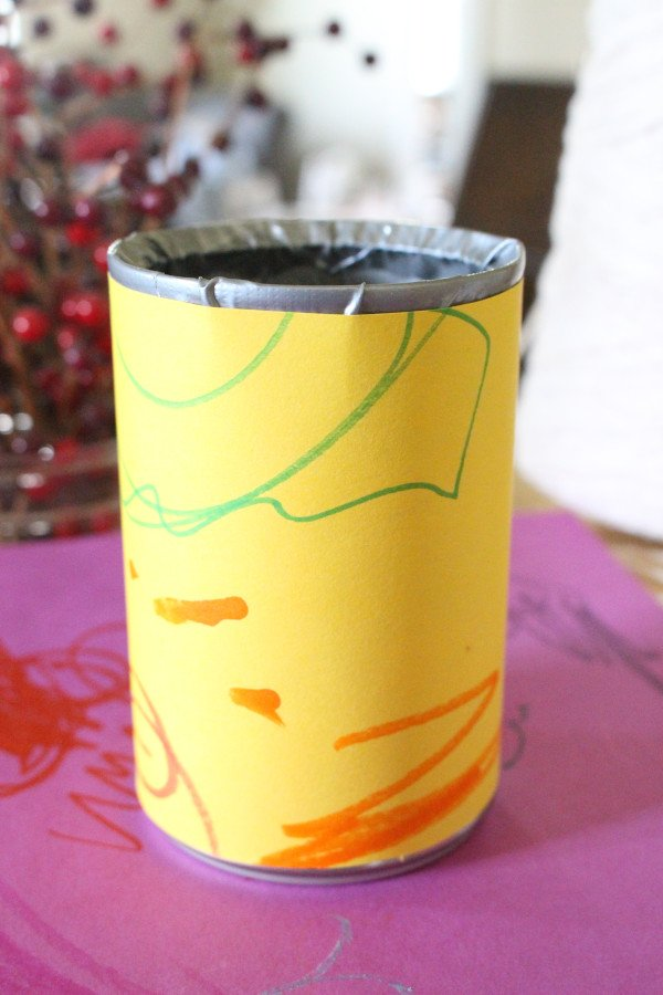 a tin can phone decorated by a student