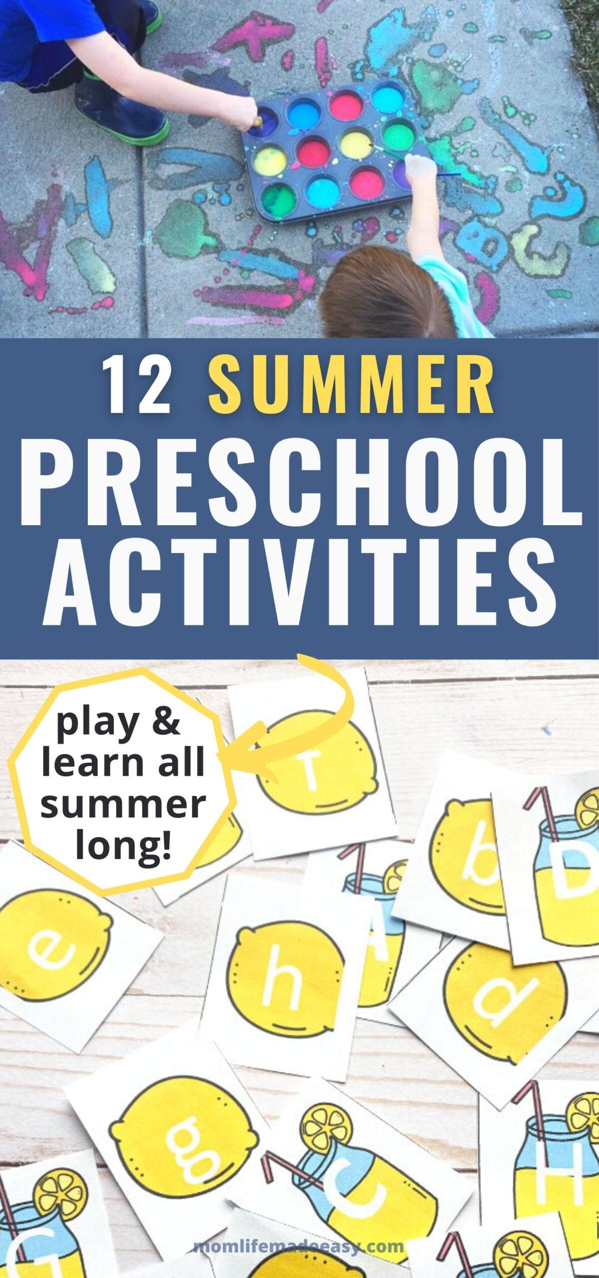 summer activities for preschoolers pin