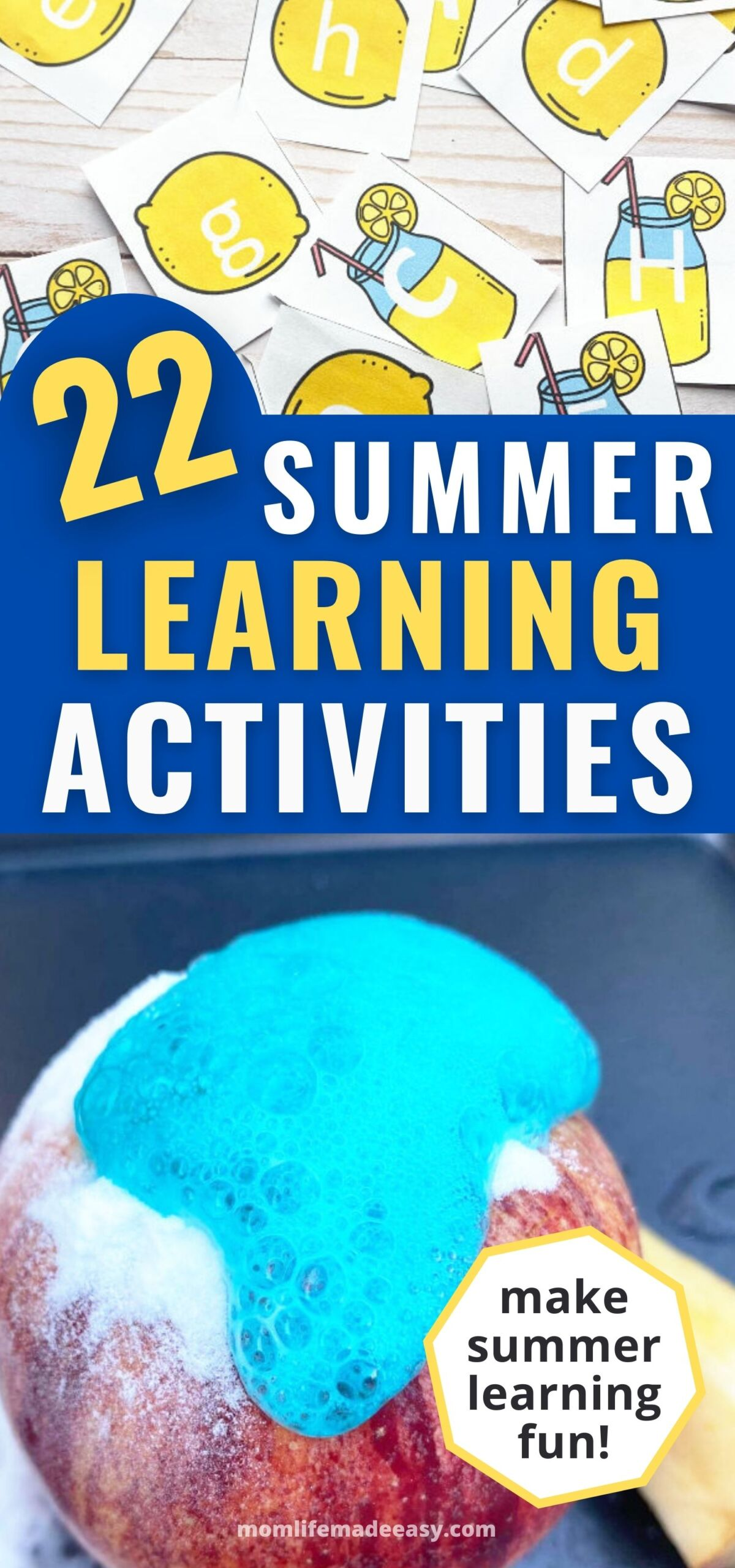 promotional collage of some of the featured summer learning activities on a blue background with text