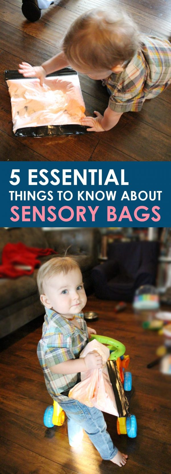 sensory bag promotional image featured a toddler activity for a rainy day - a bag filled with shaving cream!