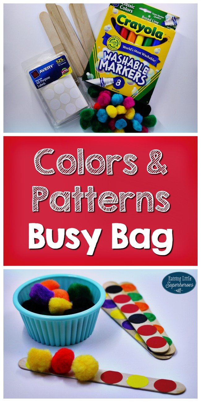 a collage featuring the supplies needed for making a colors & patterns busy bag for toddlers including pom-poms and stickers and popsicle sticks