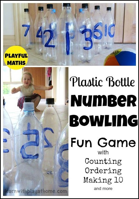 plastic bottles with painted numbers for kindergarten students to bowl over