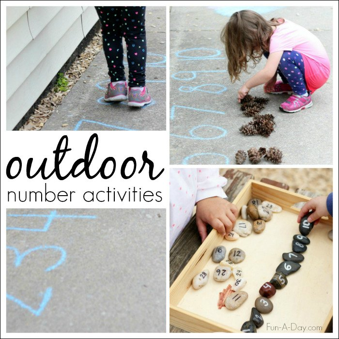outdoor number activities for kids collage featuring rocks and chalk for counting practice