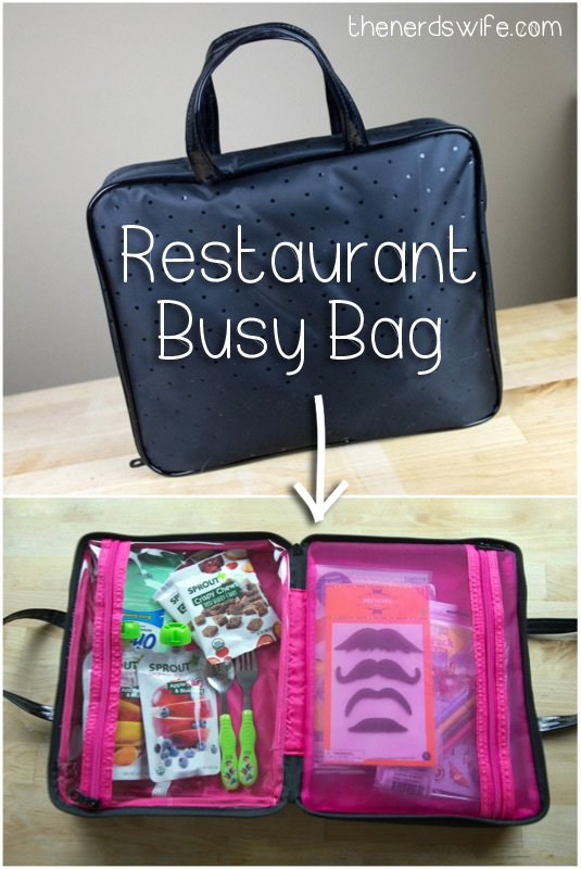 a busy bag packed for a toddler to take into a restaurant. It's filled with fun surprises!