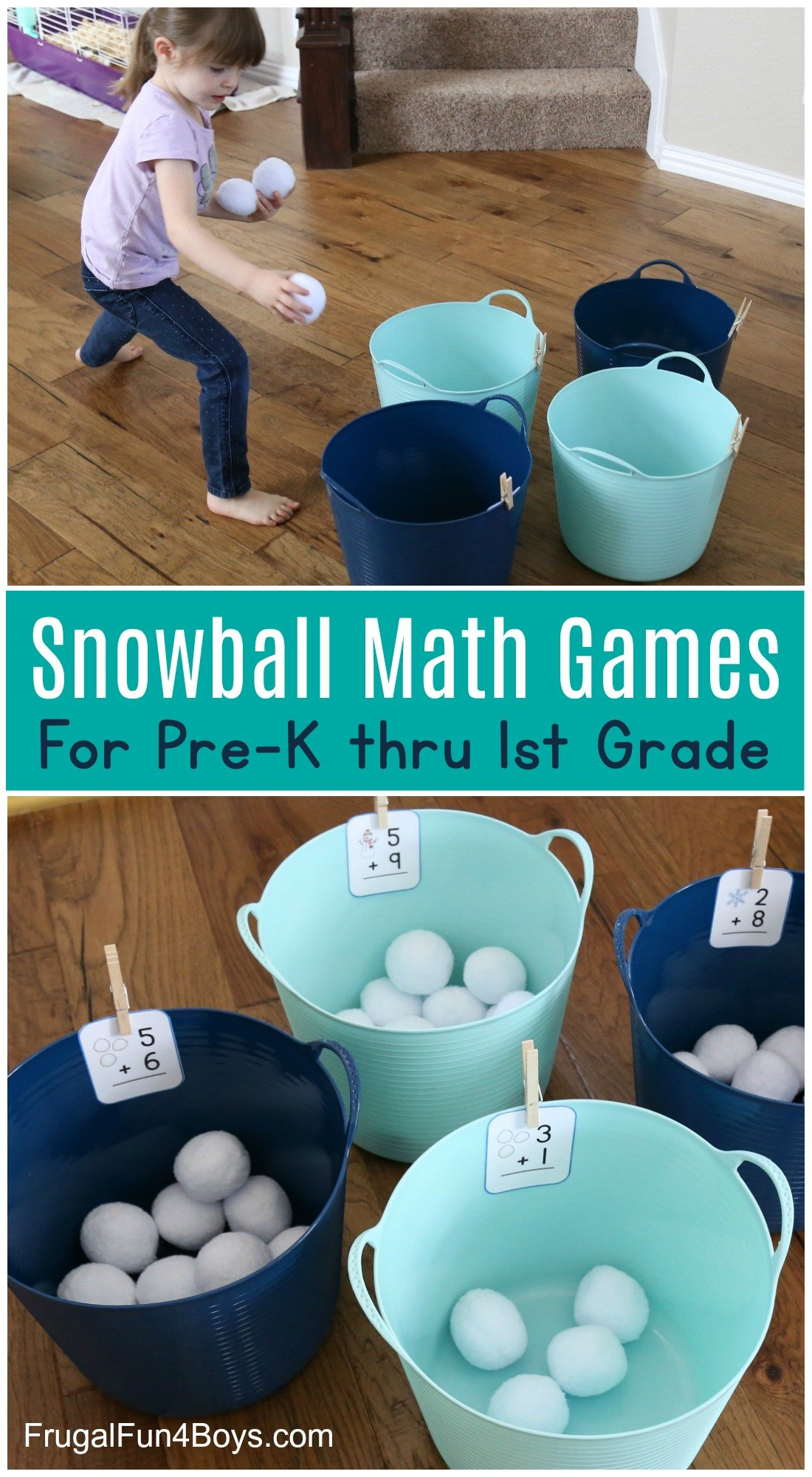 child throwing balls into labelled buckets for snowball math game
