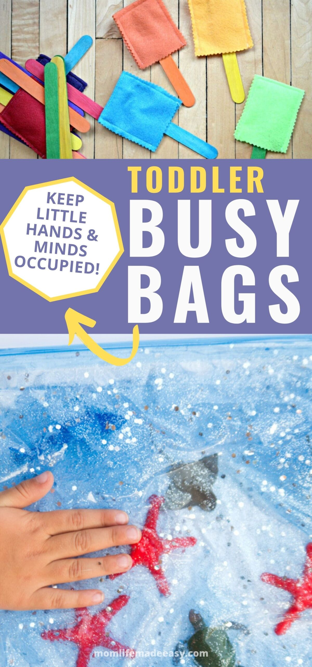 collage of different busy bags for toddlers