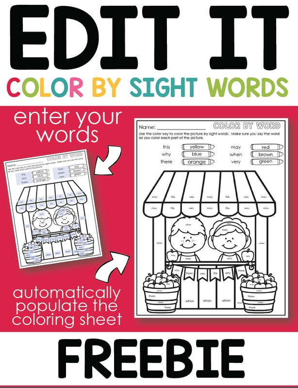color by sight word promotional image printable