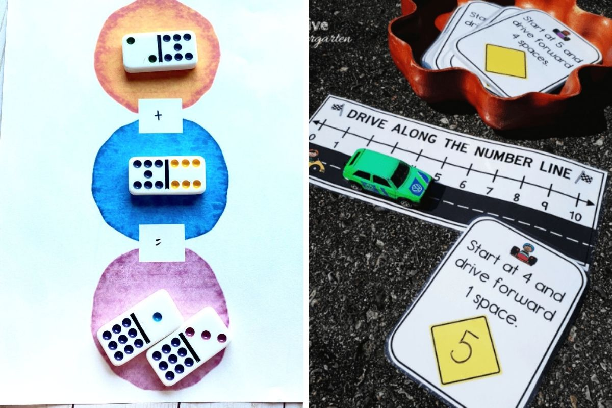 Fun Kindergarten Math Activities for a rainy day including domino printables and a cool car themed number line project
