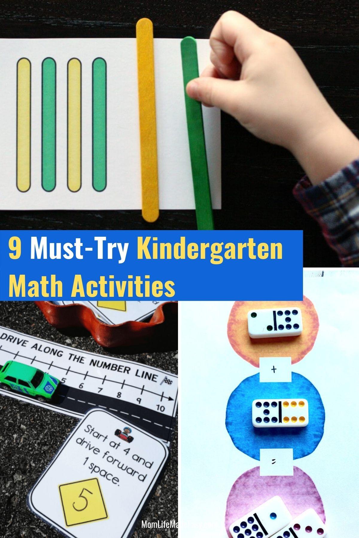 kindergarten math activities collage featuring kids enjoying various hands on activities