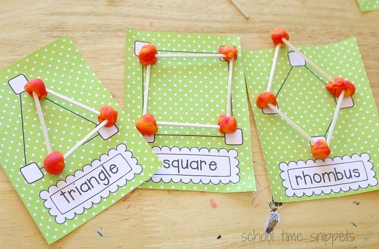 preschool math geometry activity featured shapes made out of playdough and toothpicks