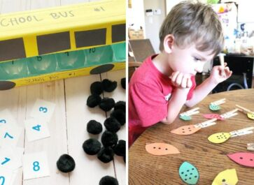 preschool student practicing a variety of simple, inexpensive math activities