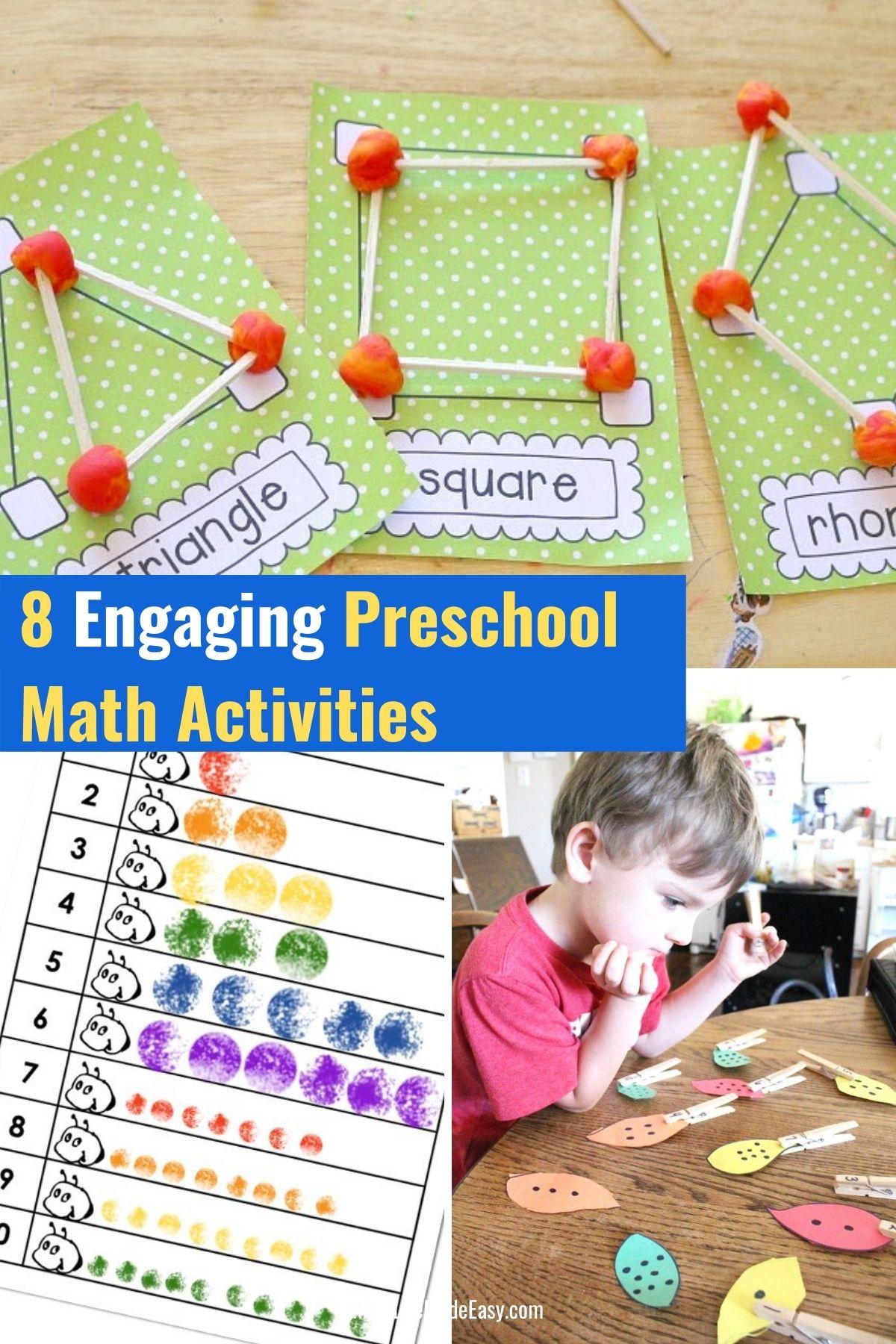 preschool math activities collage featuring kids enjoying various hands on activities