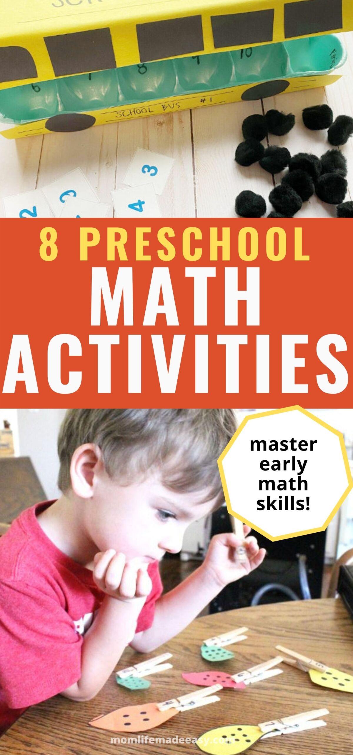 preschool math activities Pinterest promotional collage