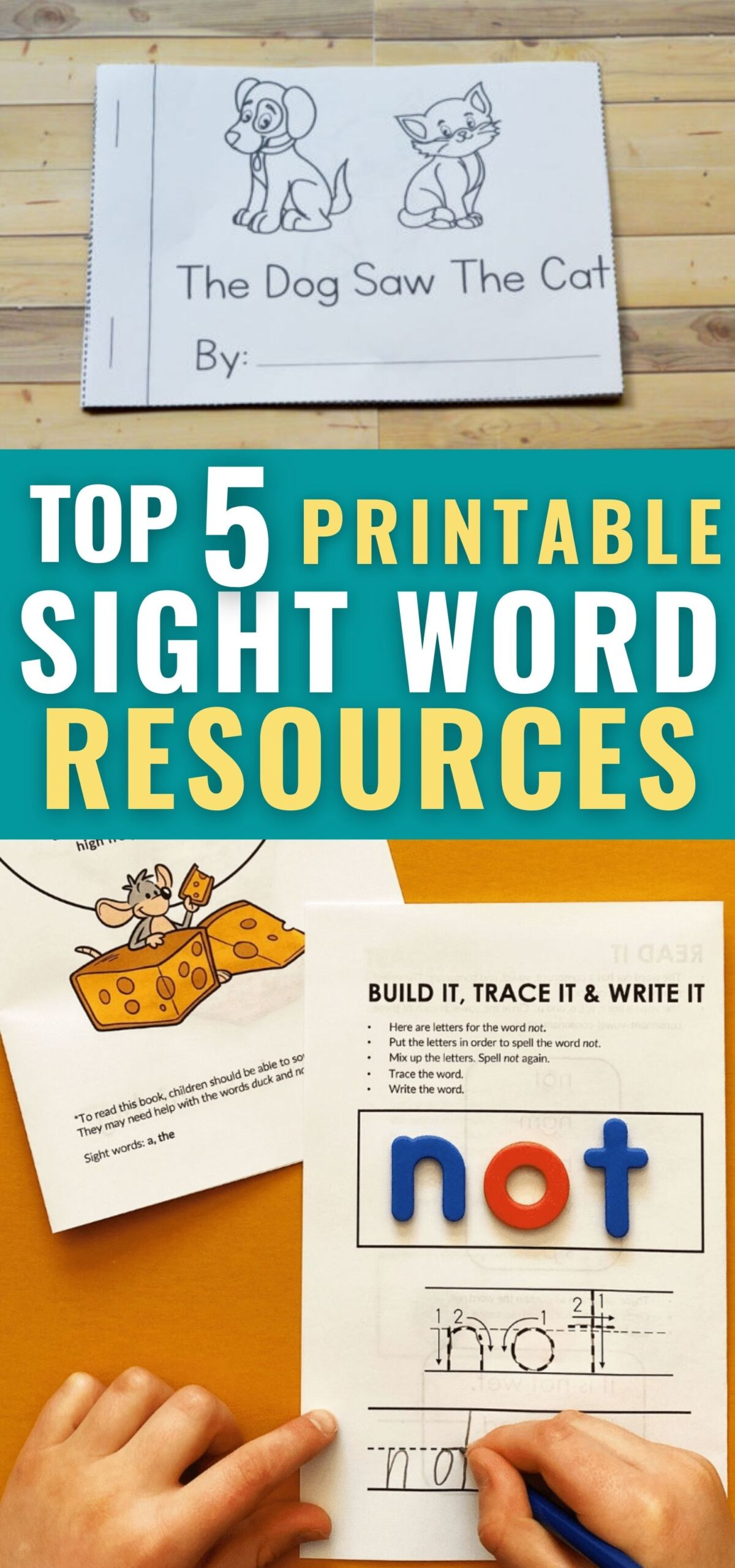 promotional collage featuring two different printable sight word resources