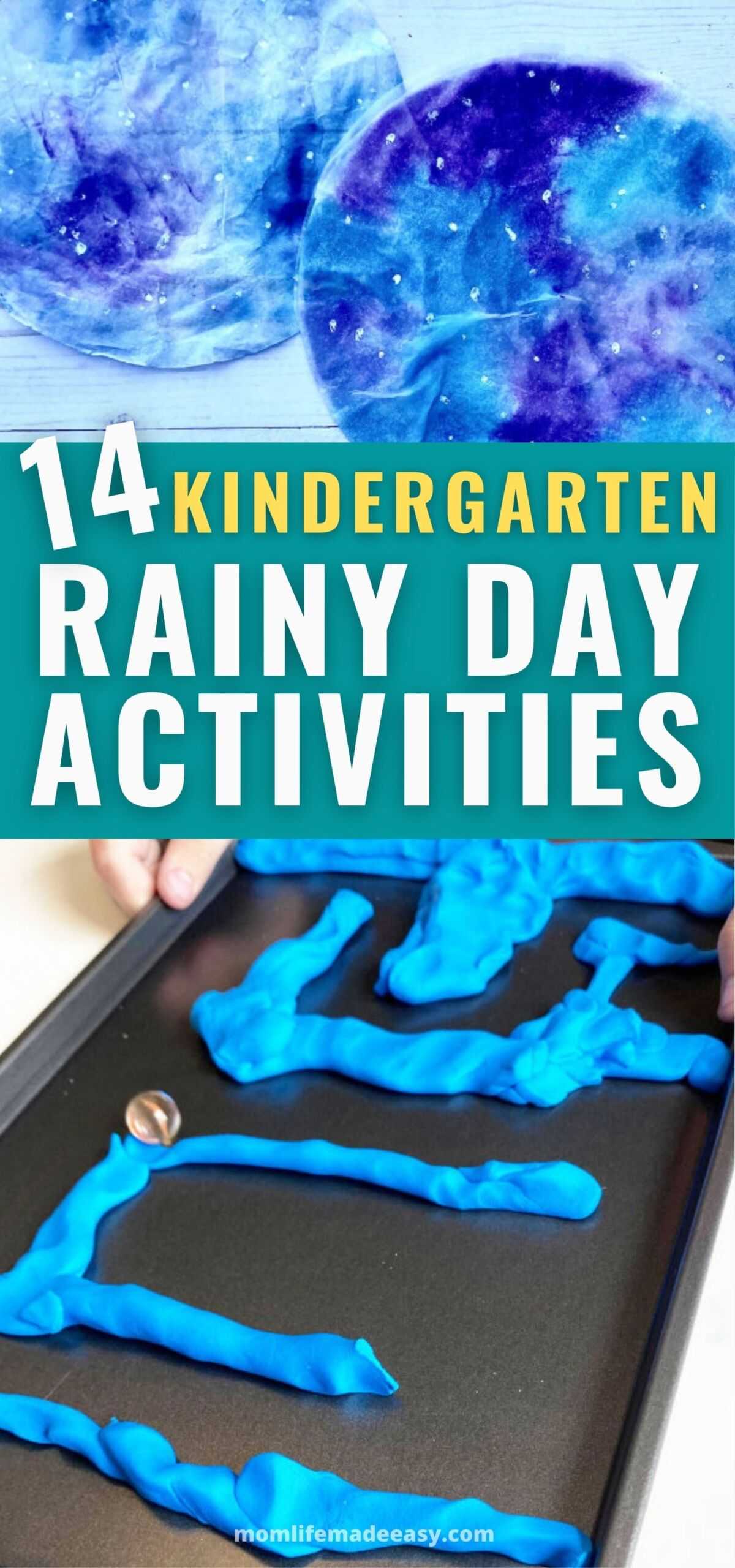 promotional collage of kindergarten activities to do on a rainy day