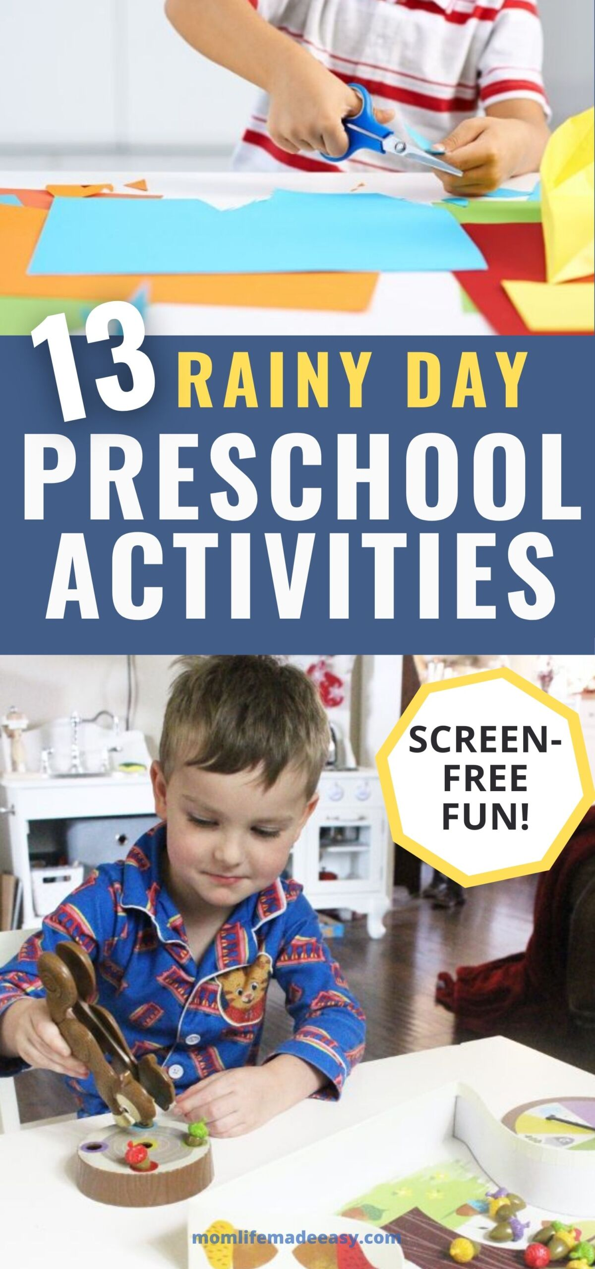 collage of preschool activities to do on a rainy day