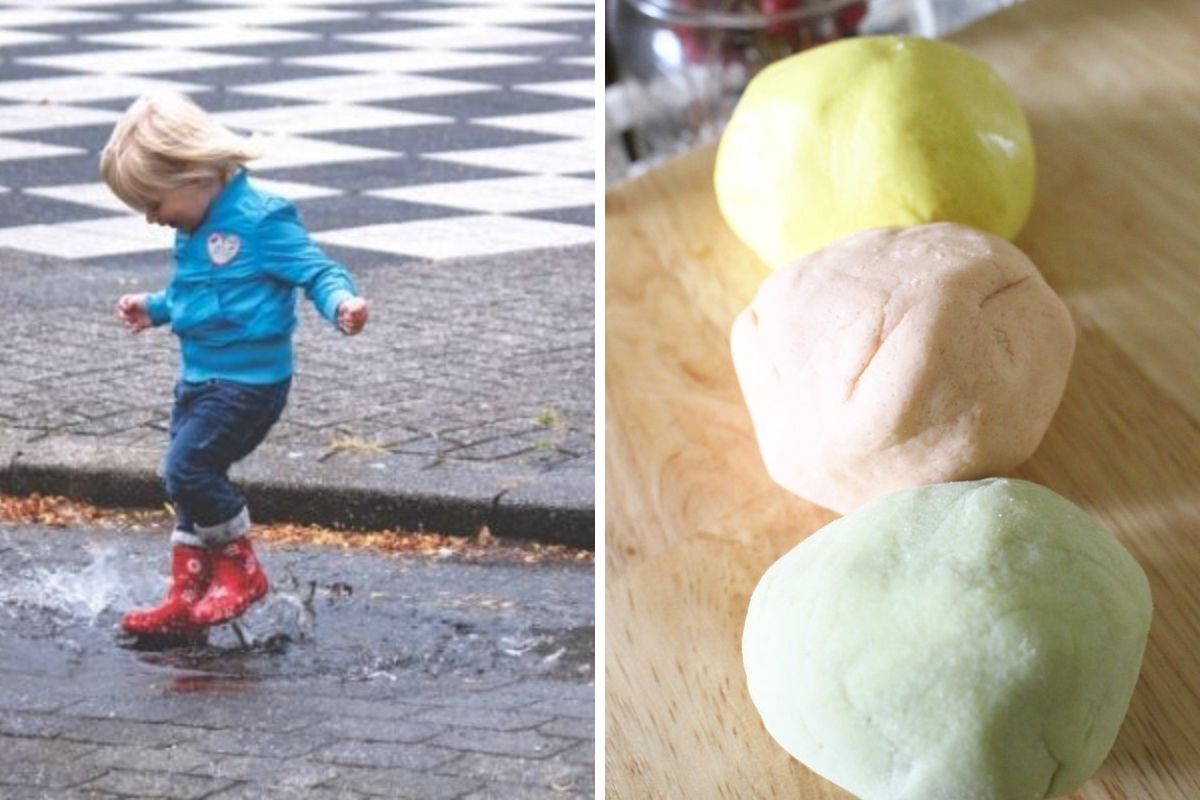 rainy day toddler activities collage of toddler jumping in puddles and making homemade playdough