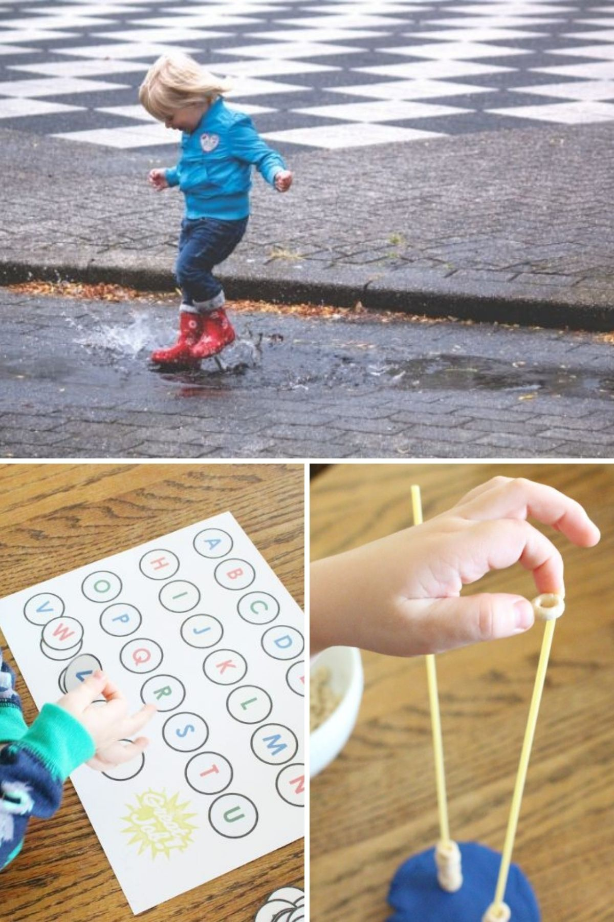 rainy day toddler activities collage of toddler jumping in puddles and learning ABCs and playing with cheerios