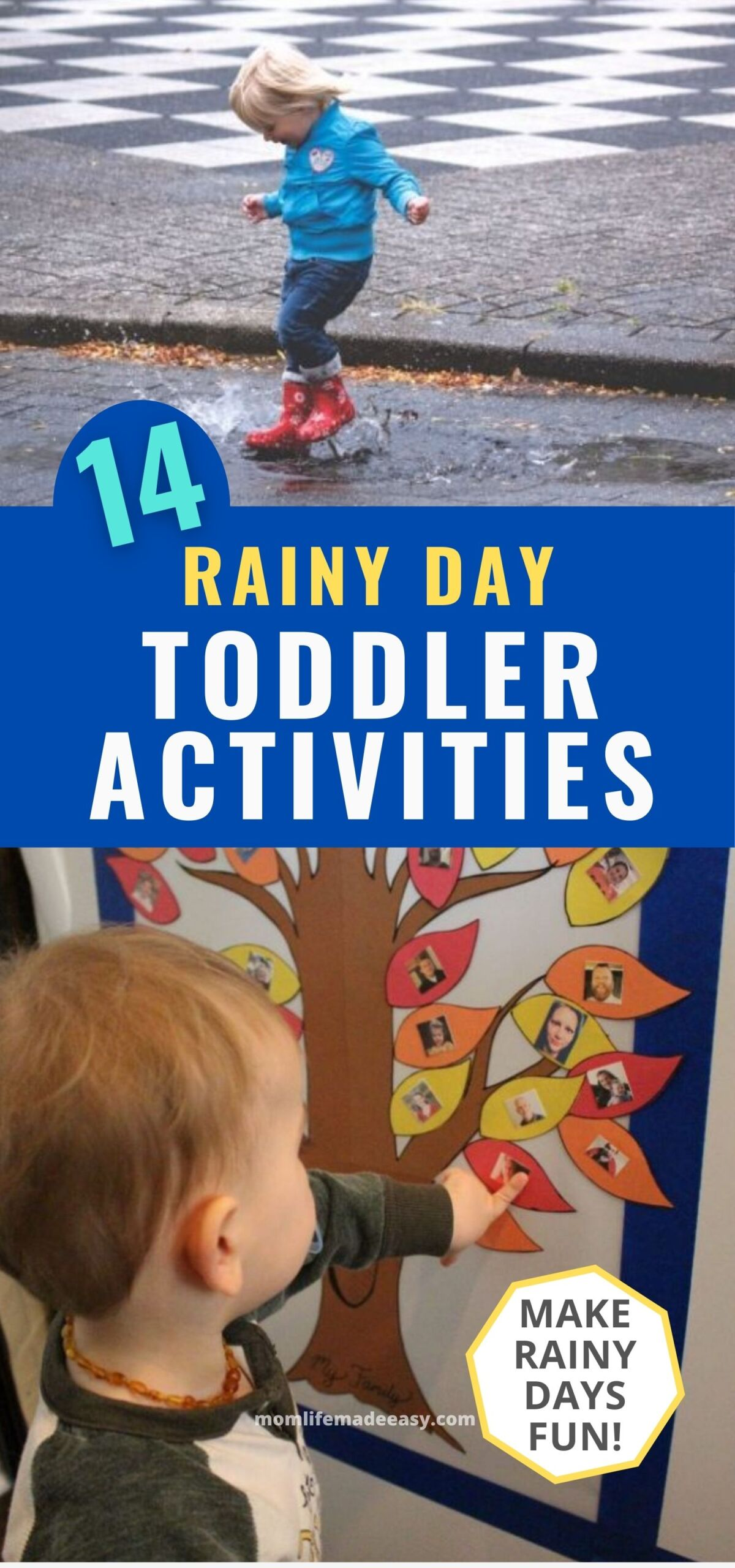 collage of rainy day toddler activities including puddle jumping and making a family tree indoors