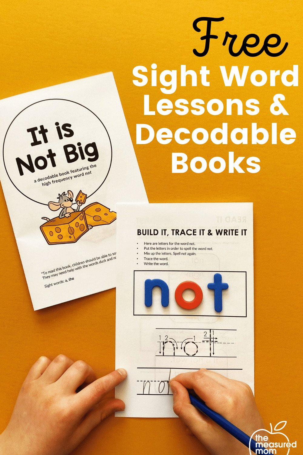 decodable sight word books and lessons featured on an orange background