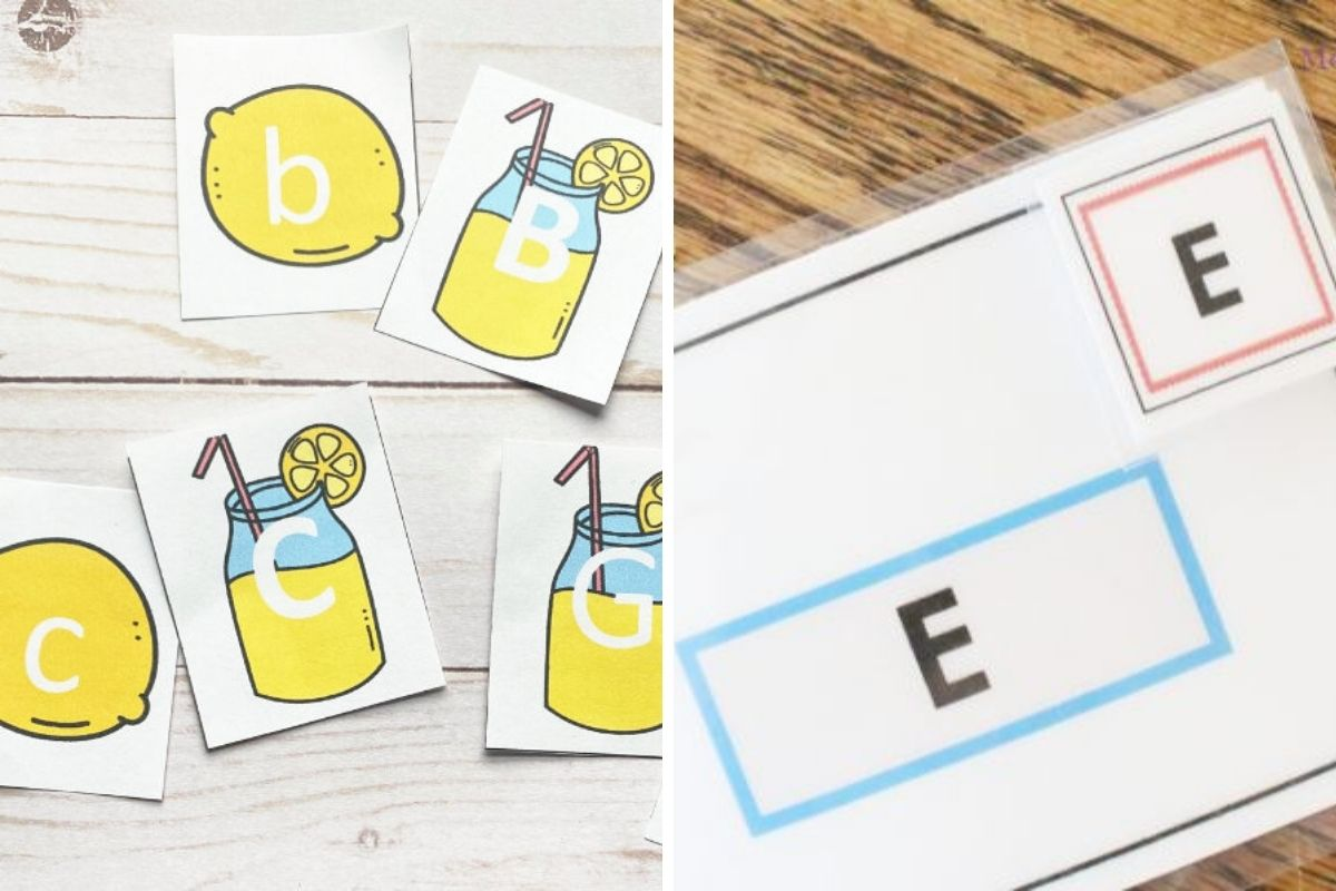 collage of ABC teaching activities including two printable activities for kids to practice matching letters