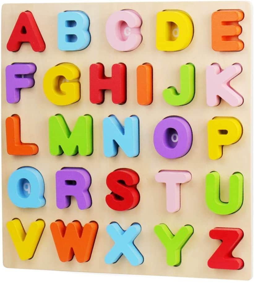 ABC teaching tool rainbow wooden puzzle